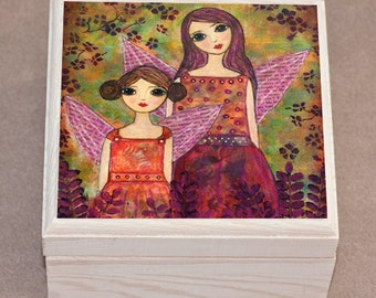 Girls Jewelry Box, Autumn Fairies Sisters Wooden Trinket Box, Handmade Wood Jewelry Box