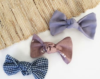 3 Fabric Knot Bow Clips - you pick 3 colors