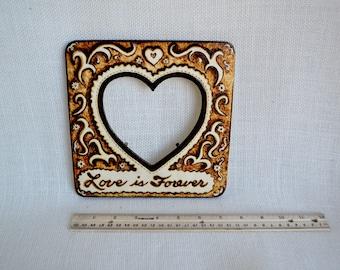 Wood burned Picture Frame, Anniversary gift, Wedding gift, Heart Frame, Wood burned Art
