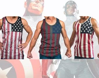Men American Flag Graphic Poly Cotton Slim Fit Sports Summer Beach Sleeveless Tank Top Tee Shirts Grey