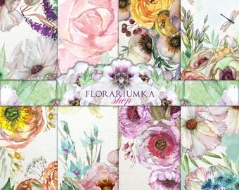 Watercolor Floral Paper Download  Floral Scrapbook Download  Floral Digital Paper  Floral Background Digital Shabby Watercolor Digital F-109