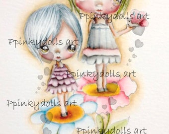 INSTANT DOWNLOAD Digital Digi Stamps..by Chrishanthi's art,Flower sisters''