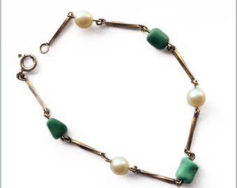 Vintage 9ct Gold, Turquoise and Pearl Bracelet