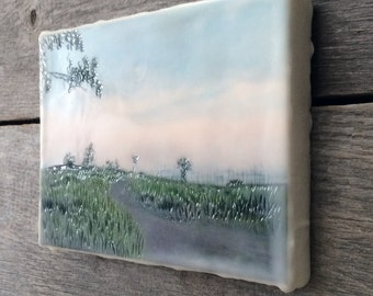 SALE. Grass pathway to beach. Original encaustic photography. Small wall art. Lake Superior Minnesota.