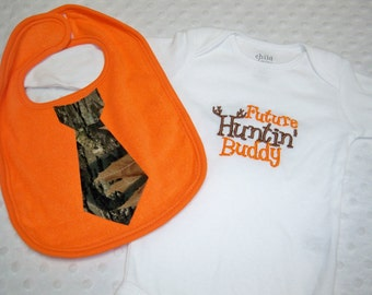 Camo Baby Boy Gift Set - Future Hunting Buddy Bodysuit and Camo and Orange Tie Bib - Perfect for Daddy's Little Hunter