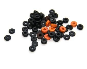 50% OFF  60pcs Black Orange Brown Greek Mykonos Beads, Round Washer Ceramic Beads, Ceramic Discs, Mixed Beads - C 10 425