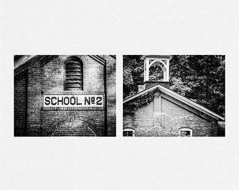 Black and White Prints or Canvas Art Set, Rustic Home Decor, Set of 2 Rustic Prints, School Pictures, Homeschool Decor, Pennsylvania Art.