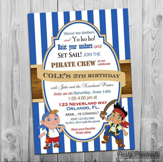 Jake and the neverland pirates birthday invitation printable zoom filmwisefo Image collections