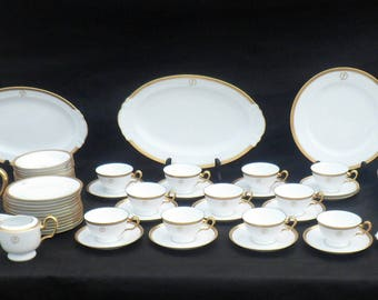 12 Place Settings, 91 Pieces OAC Okura Japanese Porcelain Dinnerware, Monogrammed