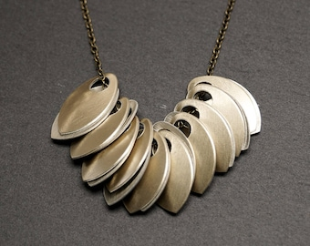 Golden Scales Necklace -- Brushed Aluminium Charms -- Brass Chain -- UK Shop
