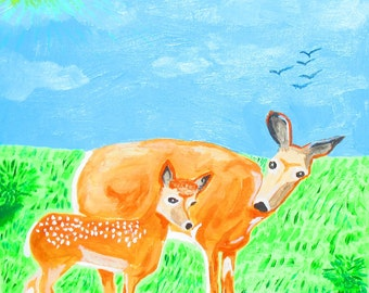 """Doe and Faun - 12"""" X 12"""" painting by an Rory Doyle, an artist with autism"""