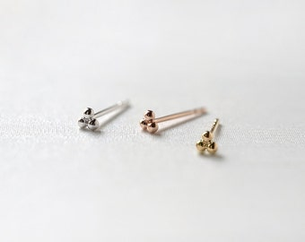 14k Gold Tiny Clover Earrings - Three Dot Studs - Triangle Studs - Second Hole Earrings - Dotted Earring - Minimalist Jewelry by LITTIONARY