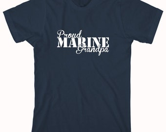 Proud Marine Grandpa Shirt, soldier, navy, army, air force, marine, gift idea for grandpa - ID: 810