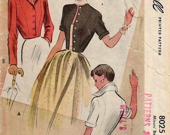 1950s McCall 8025 Vintage Sewing Pattern Misses Cropped Jacket, Bolero, Tailored Jacket, Fitted Jacket Size 14 Bust 32