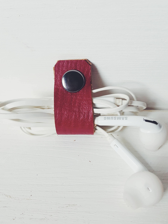 Rote Leder Kopfhörer Kabel Organizer Leder Kabelhalter