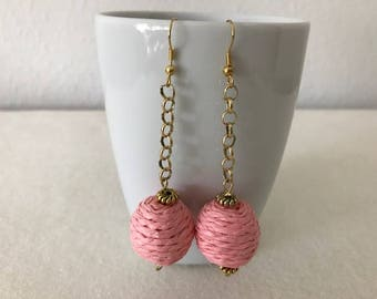 Pink, Gold, Drop, Earrings
