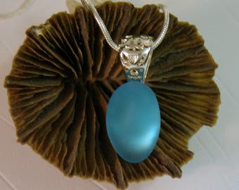 Genuine Aqua Blue Sea Glass Necklace -Surf Tumbled-Story Card-Sterling Silver Necklace
