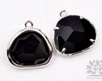 F119-02-S-BL // Silver Framed Black Glass Stone Pendant, 2Pcs