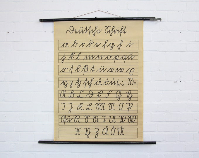 Canvas Backed Handwriting Educational Chart Circa 1940s