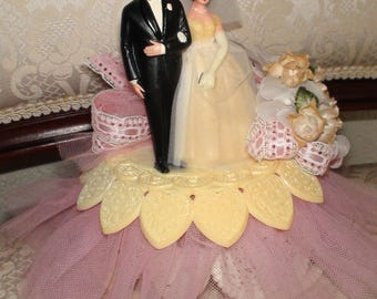 Vintage 1970s Retro Kitch Wedding Cake Topper Pink Tulle