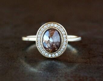 Diamond Halo Ring, Unique Engagement Ring, Rose Cut Oval Diamond Ring, Natural Brown Diamond, 14k Yellow Gold Band, White Diamond Halo