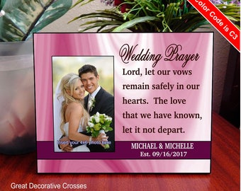Wedding Day Prayer Custom Decor, Personalized Photo frame Sign, Gift from Parents, Commitment Prayer, FWA016