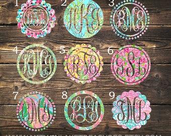 Lilly Inspired Monogram Decal / Custom Pattern, Size, Color, Frame, Border  / Car, Yeti, Rtic, Ozark Tumbler, Wall Sticker, Gift Under 5
