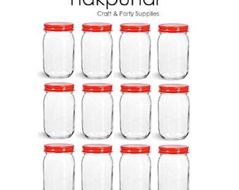 Nakpunar 12 pcs 16 oz Mason Glass Jars with Red Lid