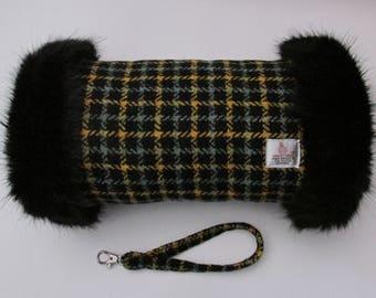 Harris Tweed Sage & Mustard Check Hand Muff with Black Faux Fur Trim