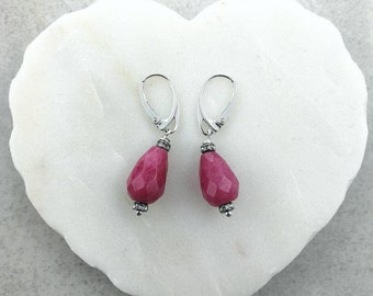 Pink Jade Earrings, Fuchsia Jade Earrings, Jadeite Earrings, Drop Dangle Earrings, Jade Earrings, Drop Jade Earrings, Silver Jade Earrings