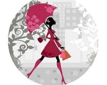23mm cabochon woman with umbrella