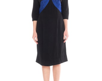 1950s Black Silk Dress With Blue Silk Pleating Size: S