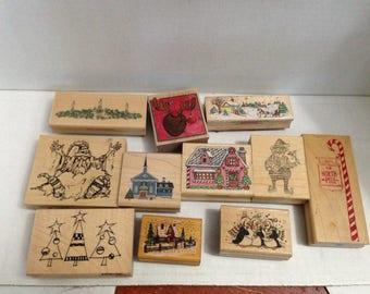 Vintage Rubber Stamp Grabbag Christmas #1