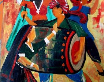 Original Handmade Indian Dhol and Folk Dance Oil painting