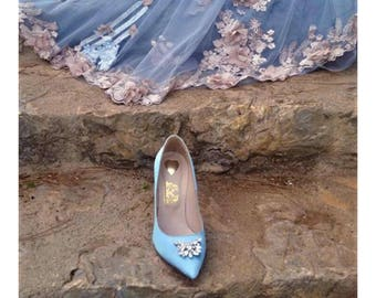 Bridal wedding shoes Blue wedding heels Bridal shoes Bridal heels Handmade Pumps Valentines gift women gift Women leather heels Women shoes