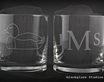 Personalized Etched Glass Duck and Monogram Rocks Pair, Hunter, Sportsman Groomsman, Groom by Jackglass on Etsy