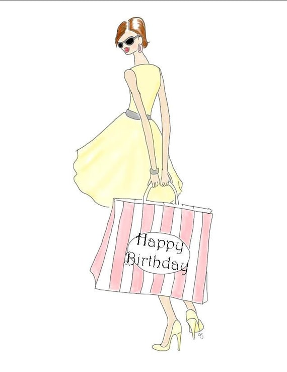 Items similar to posh shopping girl happy birthday drawing card items similar to posh shopping girl happy birthday drawing card in yellow and gray made on recycled paper comes with envelope and seal on etsy bookmarktalkfo Images