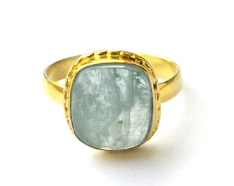 Natural Aquamarine Gemstone Ring- Yellow Gold on Sterling Silver Ring- March Birthstone Gift Ring- Handmade Designer Ring- Aquamarine Stone