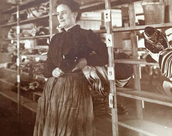 Woman Shoe Factory Employee Occupational Antique Photo