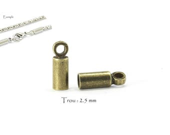 10 tips to stick - end caps for cord or chain - 9 x 3 mm / hole: 2.5 mm - Bronze color