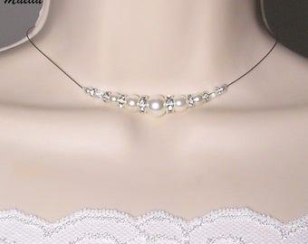 Bridal white rhinestone necklace wedding white - Romantica Collection - Lily