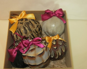 Box of beautiful Feather Baubles for Christmas or home decoration