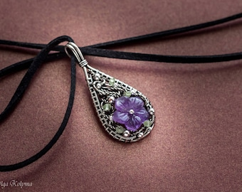 Amethyst necklace silver pendant Wire wrapped necklace flower pendant Wire wrap jewelry gift for her OOAK