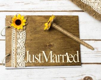 Sunfower Guest Book Sunflower Wedding Guestbook Vow Books Burlap Lace Pen Sunflower decoration