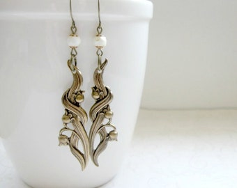 Lily of the valley earrings, floral dangles, brass charms, nature jewelry, woodland flowers, long dangles, forest