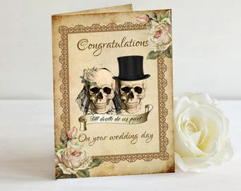 Skull Wedding Card, Congratuations, Skull Bride & Groom, Wedding Card, A5 Card, Alternative, Goth Card, Gothic Wedding