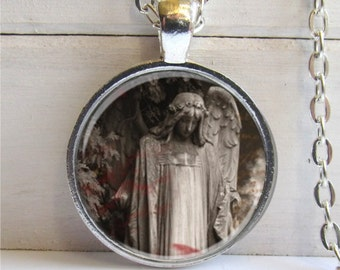 Gothic Angel Pendant, Photo Art Necklace, Goth Jewelry