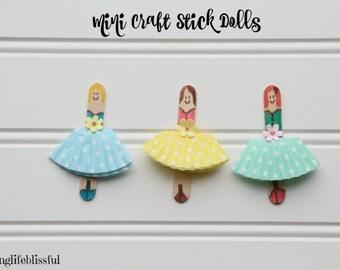 Kids Craft Kit Popsicle Stick Dolls, Mini Size Princess Craft Kit