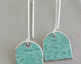 Domed verdigris copper earrings