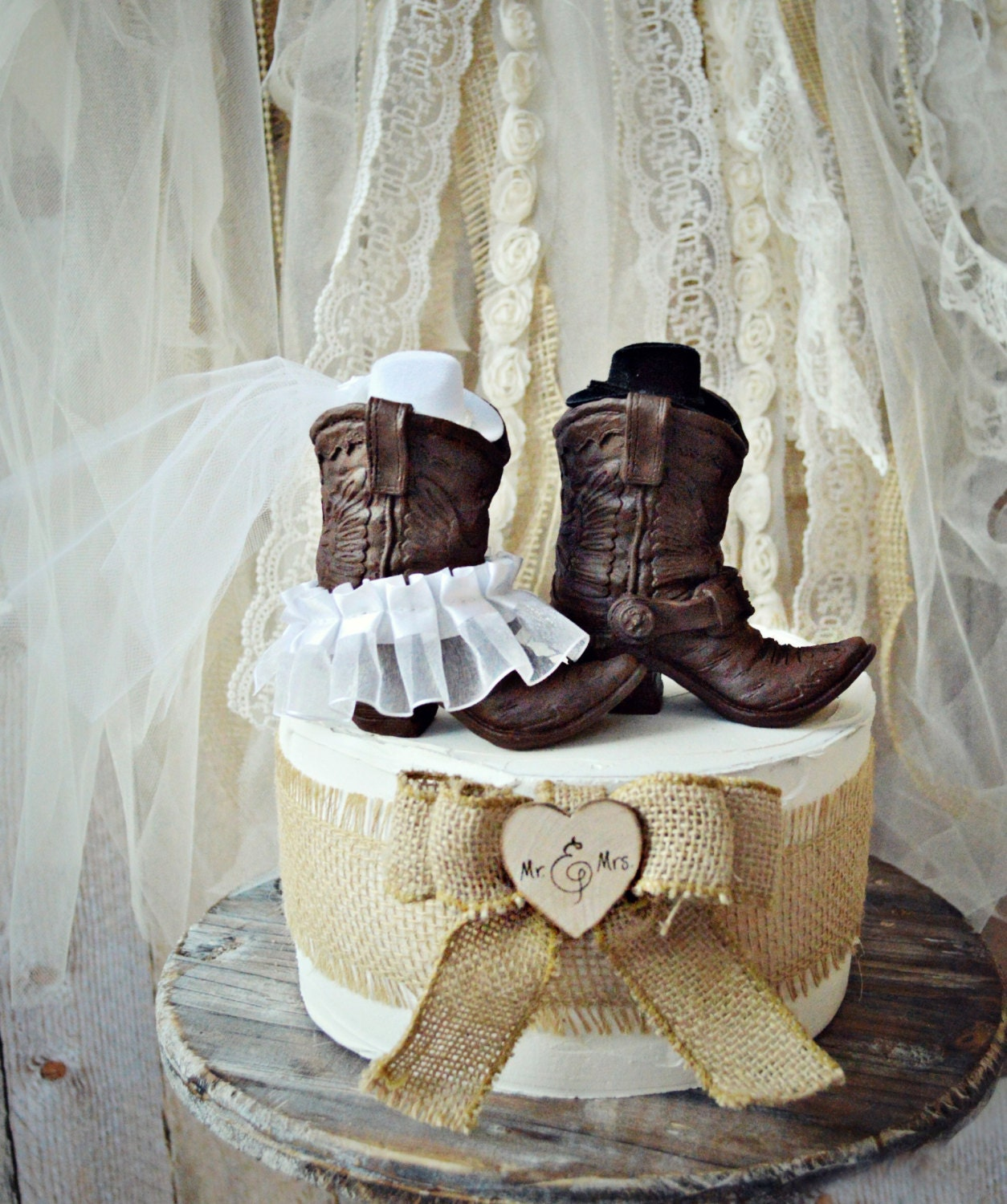 Cowboy Cowgirl Wedding Ideas: Cowboy Boots Wedding Cake Topper-Western Themed Wedding